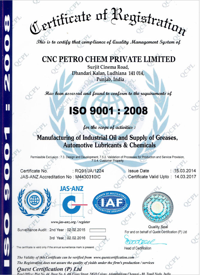iso certificate cnc lubricants india - lubricating oils industrial grease fluids manufacturers in india punjab